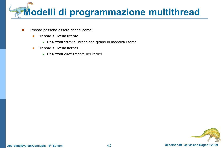 4.9 Silberschatz, Galvin and Gagne ©2009 Operating System Concepts – 8 th Edition Modelli di programmazione multithread  I thread possono essere defi