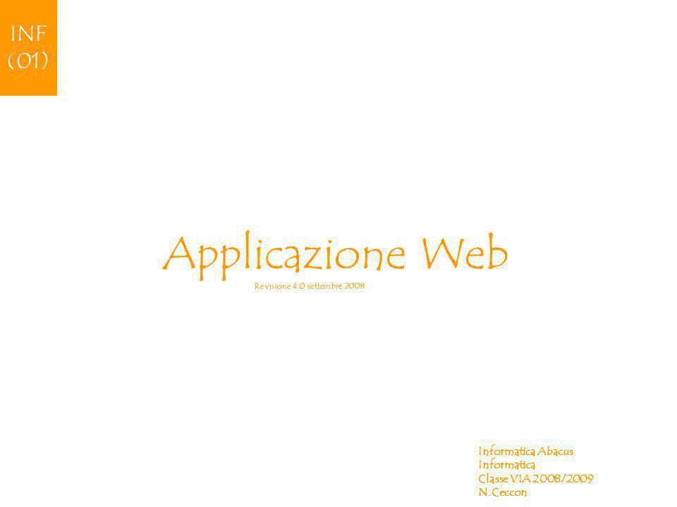 Applicazione Web Informatica Abacus Informatica Classe VIA 2008/2009 N.Ceccon INF (01) Revisione 4.0 settembre 2008