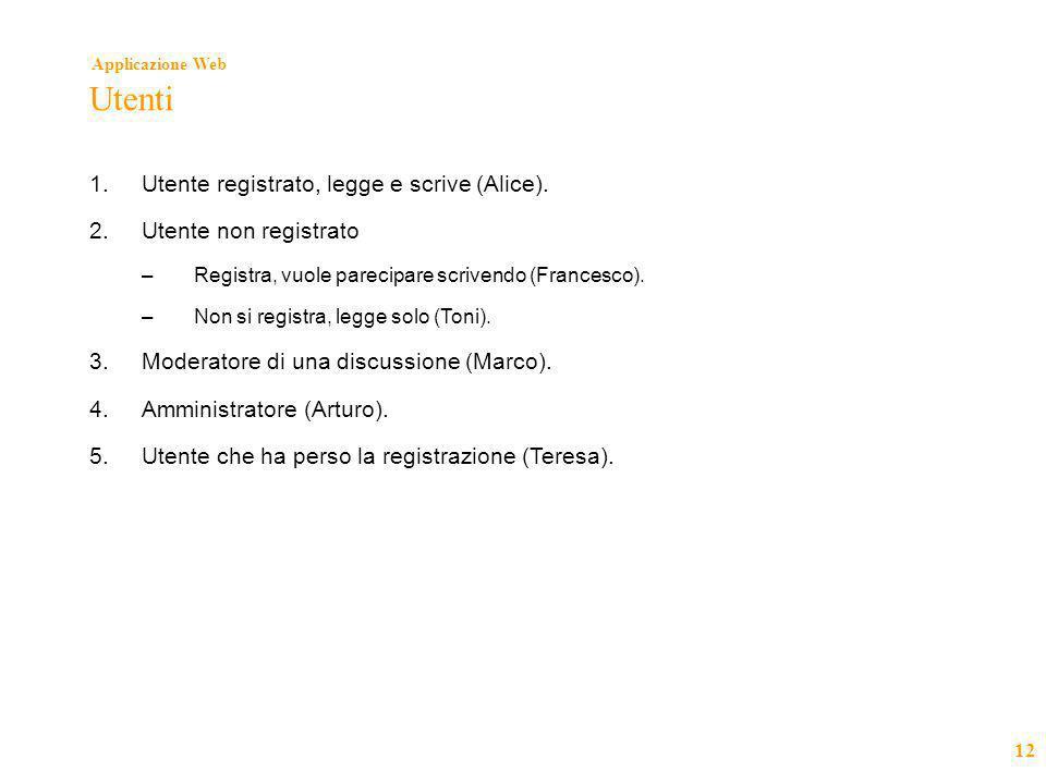 Applicazione Web 12 Utenti 1.Utente registrato, legge e scrive (Alice). 2.Utente non registrato –Registra, vuole parecipare scrivendo (Francesco). –No
