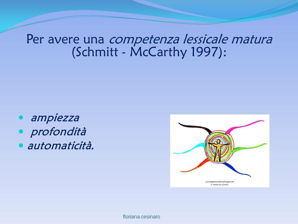 Per avere una competenza lessicale matura (Schmitt - McCarthy 1997):  ampiezza  profondità  automaticità. floriana cesinaro