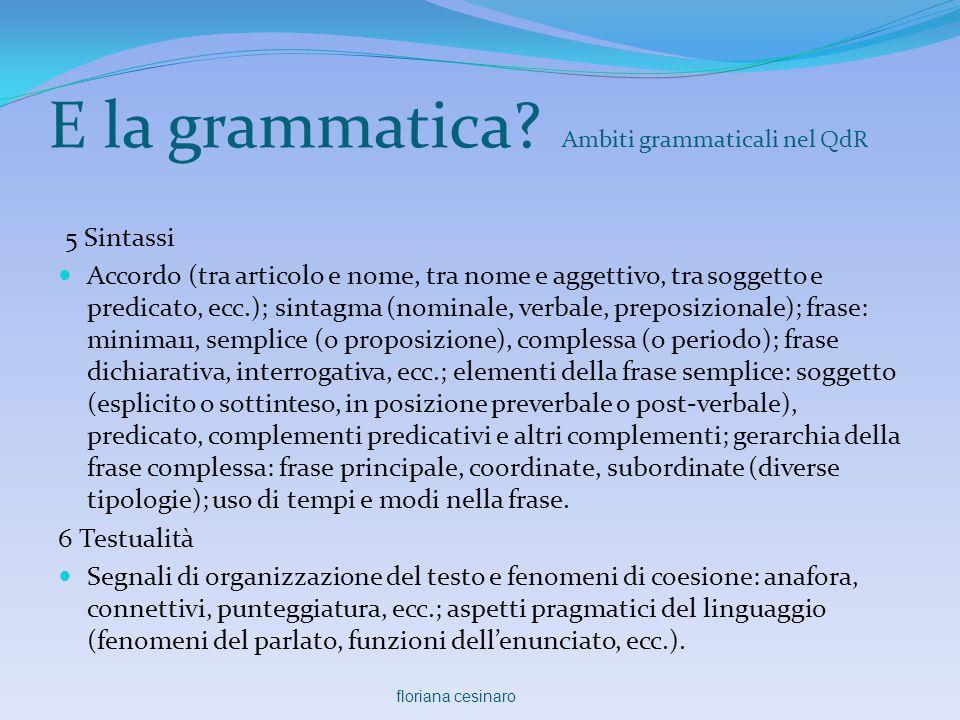 E la grammatica? Ambiti grammaticali nel QdR 5 Sintassi  Accordo (tra articolo e nome, tra nome e aggettivo, tra soggetto e predicato, ecc.); sintagm