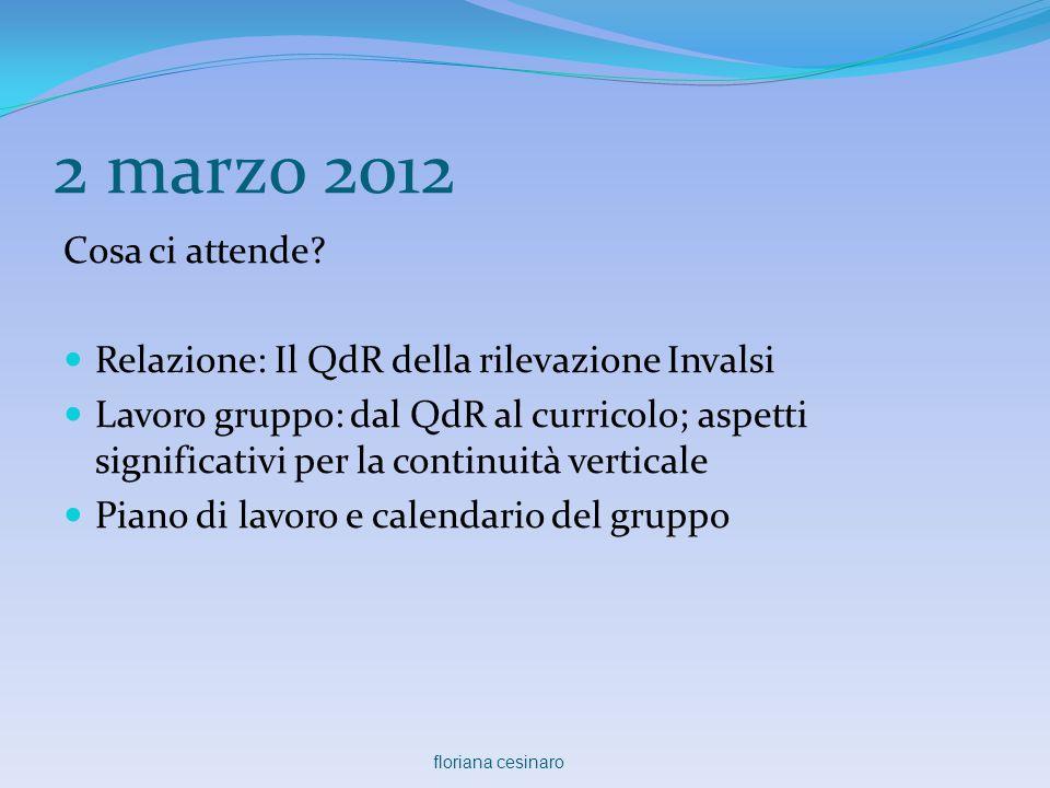 2 marzo 2012 Cosa ci attende?  Relazione: Il QdR della rilevazione Invalsi  Lavoro gruppo: dal QdR al curricolo; aspetti significativi per la contin