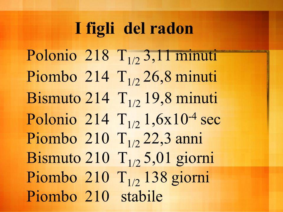 I figli del radon Polonio 218 T 1/2 3,11 minuti Piombo 214 T 1/2 26,8 minuti Bismuto 214 T 1/2 19,8 minuti Polonio 214 T 1/2 1,6x10 -4 sec Piombo 210