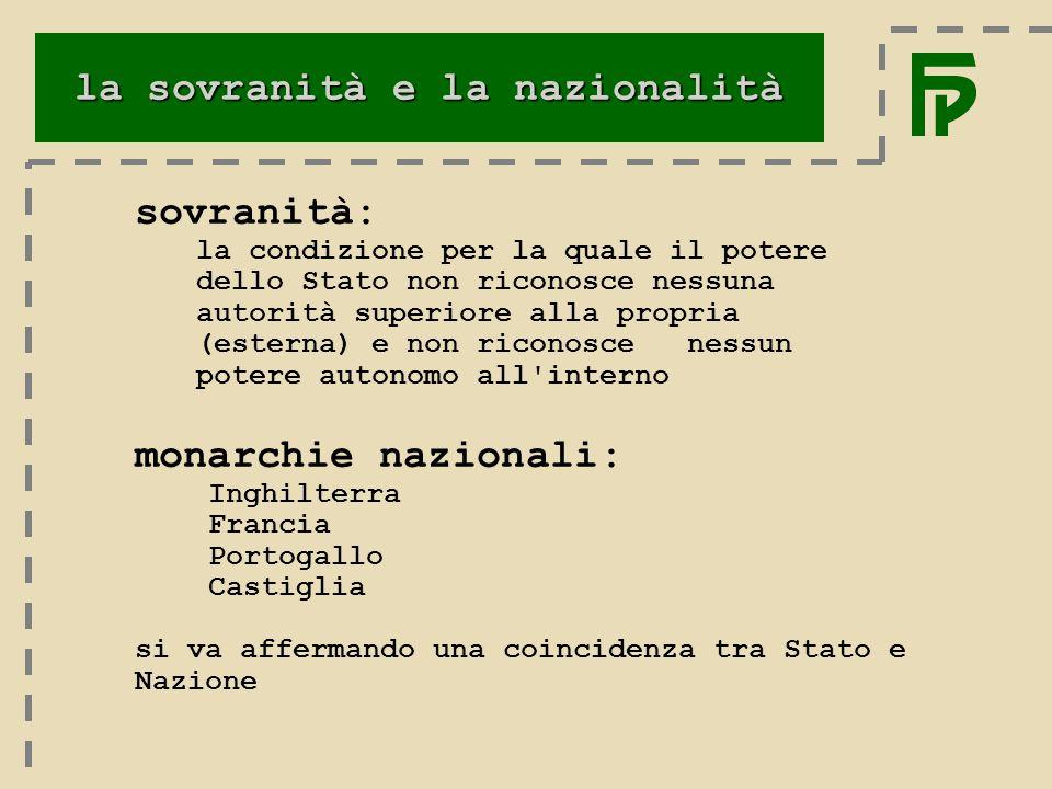 la sovranità e la nazionalità Nazione: unità linguistica e comune eredità culturale.