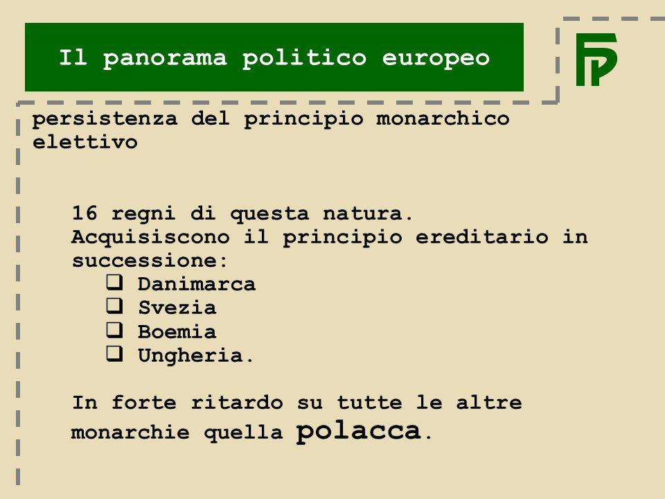 Il panorama politico europeo persistenza del principio monarchico elettivo 16 regni di questa natura.