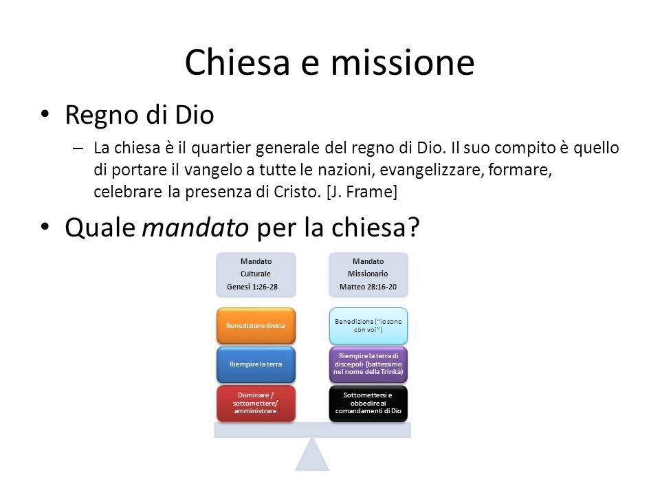 Chiesa e missione • Regno di Dio – La chiesa è il quartier generale del regno di Dio. Il suo compito è quello di portare il vangelo a tutte le nazioni
