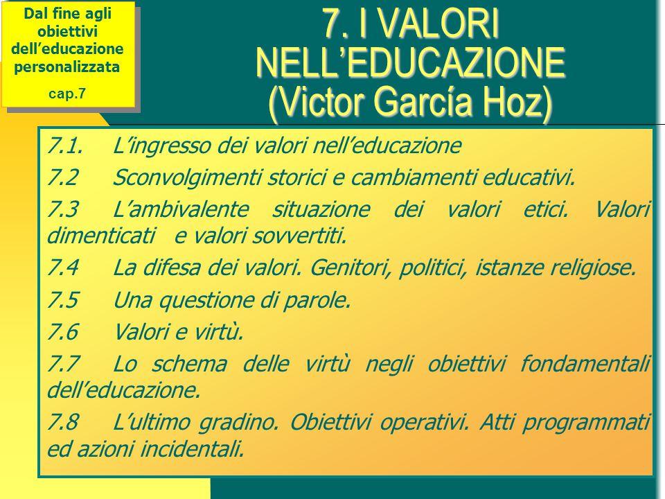 7. I VALORI NELL'EDUCAZIONE (Victor García Hoz) 7.1.L'ingresso dei valori nell'educazione 7.2Sconvolgimenti storici e cambiamenti educativi. 7.3L'ambi
