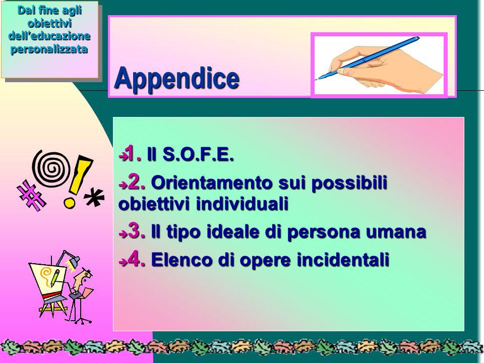 Appendice è 1. Il S.O.F.E. è 2. Orientamento sui possibili obiettivi individuali è 3. Il tipo ideale di persona umana è 4. Elenco di opere incidentali