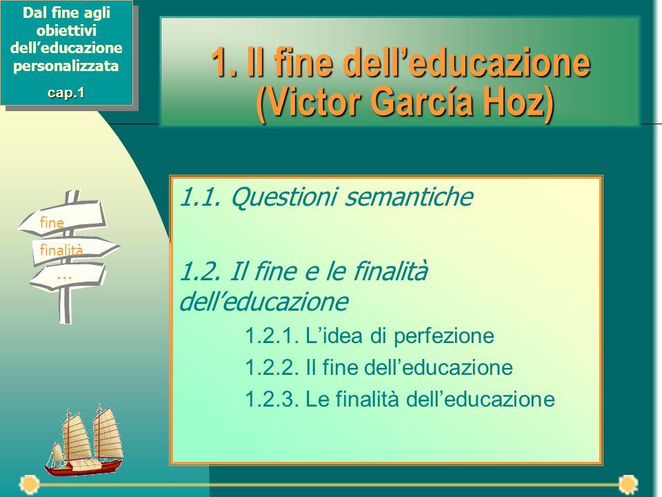 1. Il fine dell'educazione (Victor García Hoz) 1.1. Questioni semantiche 1.2. Il fine e le finalità dell'educazione 1.2.1. L'idea di perfezione 1.2.2.
