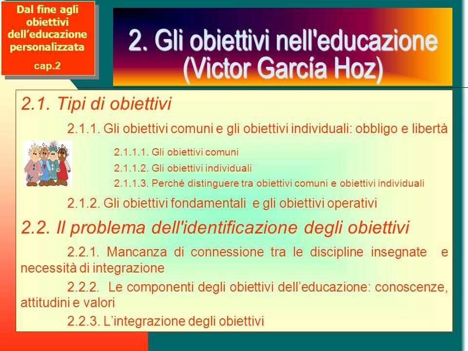 2. Gli obiettivi nell'educazione (Victor García Hoz) 2.1. Tipi di obiettivi 2.1.1. Gli obiettivi comuni e gli obiettivi individuali: obbligo e libertà