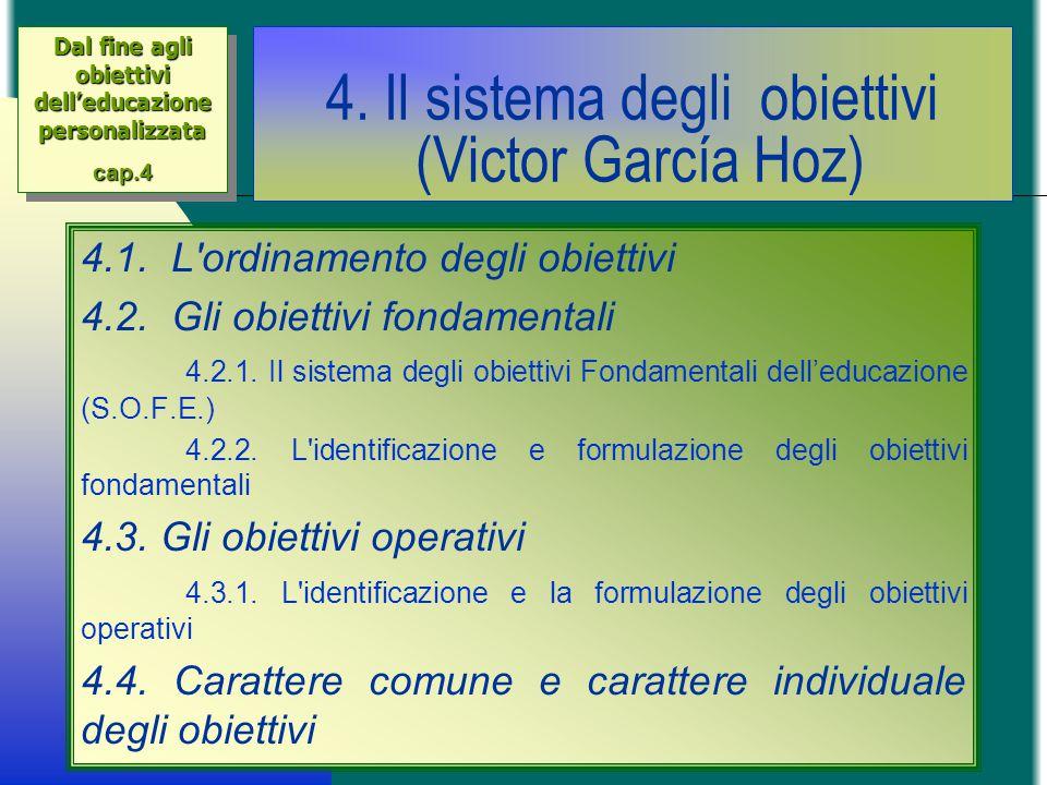 4. Il sistema degli obiettivi (Victor García Hoz) 4.1. L'ordinamento degli obiettivi 4.2. Gli obiettivi fondamentali 4.2.1. Il sistema degli obiettivi