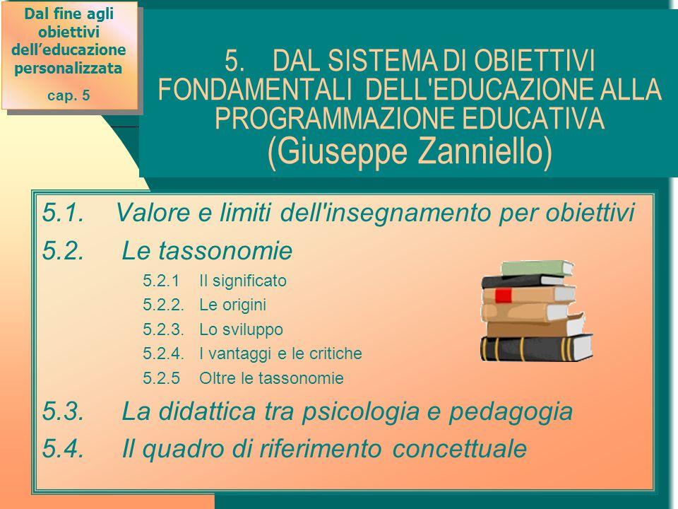 5. DAL SISTEMA DI OBIETTIVI FONDAMENTALI DELL'EDUCAZIONE ALLA PROGRAMMAZIONE EDUCATIVA (Giuseppe Zanniello) 5.1. Valore e limiti dell'insegnamento per