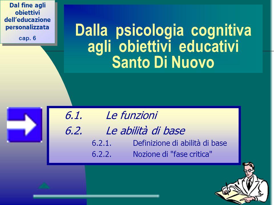 Dalla psicologia cognitiva agli obiettivi educativi Santo Di Nuovo 6.1.Le funzioni 6.2.Le abilità di base 6.2.1.Definizione di abilità di base 6.2.2.N