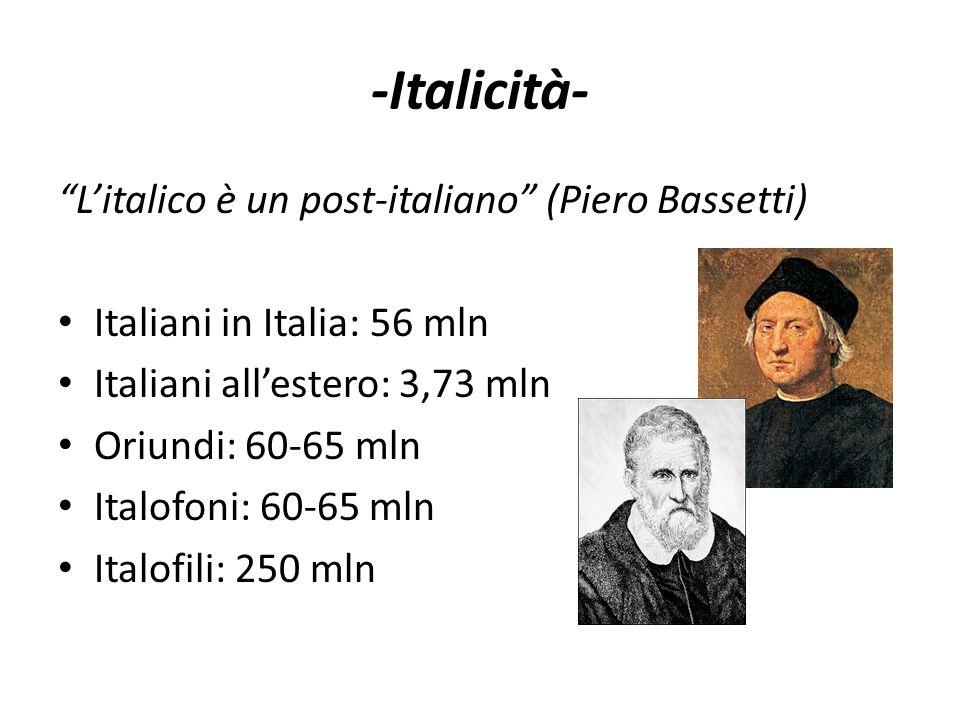 """-Italicità- """"L'italico è un post-italiano"""" (Piero Bassetti) • Italiani in Italia: 56 mln • Italiani all'estero: 3,73 mln • Oriundi: 60-65 mln • Italof"""