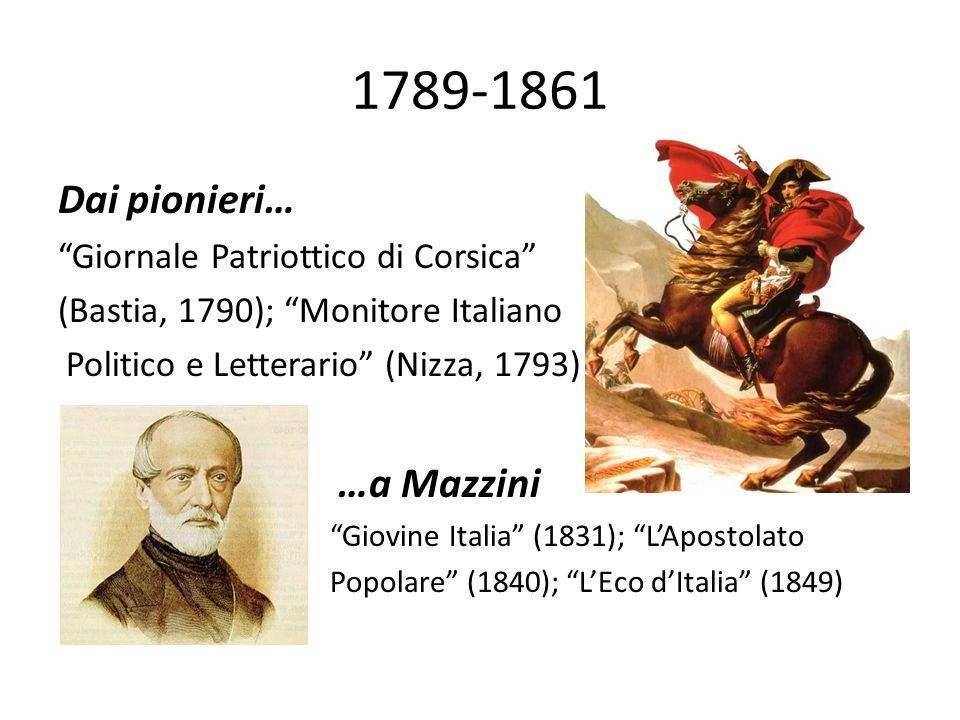 """1789-1861 Dai pionieri… """"Giornale Patriottico di Corsica"""" (Bastia, 1790); """"Monitore Italiano Politico e Letterario"""" (Nizza, 1793) …a Mazzini """"Giovine"""