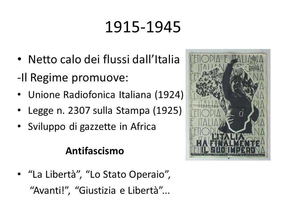 1915-1945 • Netto calo dei flussi dall'Italia -Il Regime promuove: • Unione Radiofonica Italiana (1924) • Legge n. 2307 sulla Stampa (1925) • Sviluppo