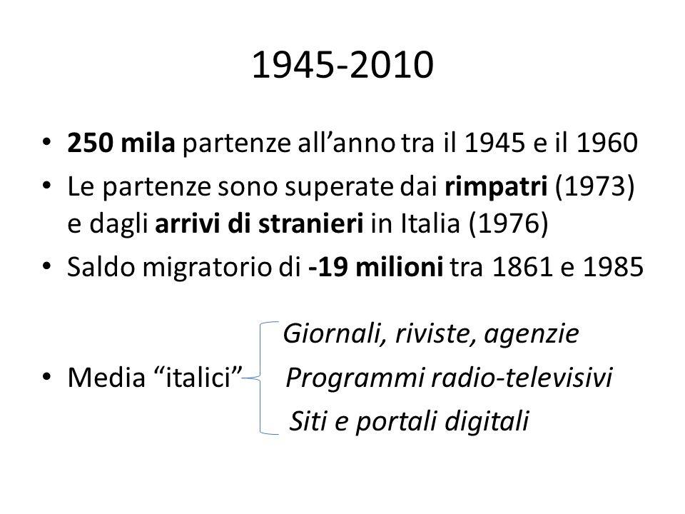 1945-2010 • 250 mila partenze all'anno tra il 1945 e il 1960 • Le partenze sono superate dai rimpatri (1973) e dagli arrivi di stranieri in Italia (19