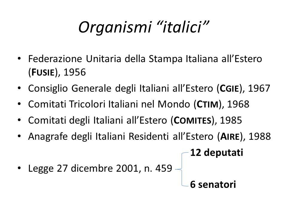 """Organismi """"italici"""" • Federazione Unitaria della Stampa Italiana all'Estero (F USIE ), 1956 • Consiglio Generale degli Italiani all'Estero (C GIE ), 1"""