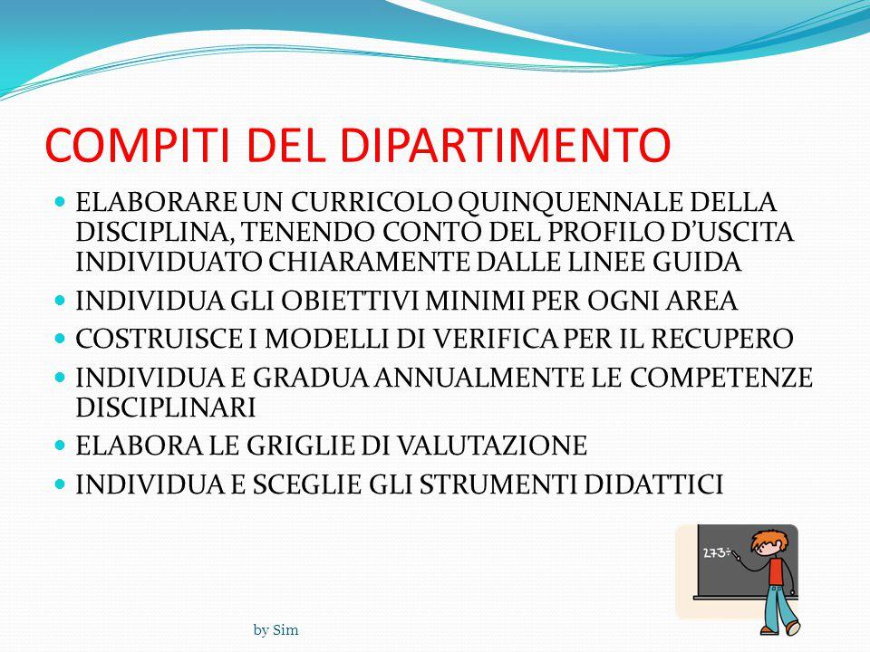 by Sim COMPITI DEL DIPARTIMENTO  ELABORARE UN CURRICOLO QUINQUENNALE DELLA DISCIPLINA, TENENDO CONTO DEL PROFILO D'USCITA INDIVIDUATO CHIARAMENTE DALLE LINEE GUIDA  INDIVIDUA GLI OBIETTIVI MINIMI PER OGNI AREA  COSTRUISCE I MODELLI DI VERIFICA PER IL RECUPERO  INDIVIDUA E GRADUA ANNUALMENTE LE COMPETENZE DISCIPLINARI  ELABORA LE GRIGLIE DI VALUTAZIONE  INDIVIDUA E SCEGLIE GLI STRUMENTI DIDATTICI