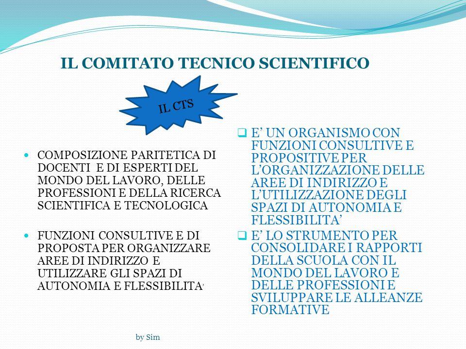 by Sim IL COMITATO TECNICO SCIENTIFICO  COMPOSIZIONE PARITETICA DI DOCENTI E DI ESPERTI DEL MONDO DEL LAVORO, DELLE PROFESSIONI E DELLA RICERCA SCIENTIFICA E TECNOLOGICA  FUNZIONI CONSULTIVE E DI PROPOSTA PER ORGANIZZARE AREE DI INDIRIZZO E UTILIZZARE GLI SPAZI DI AUTONOMIA E FLESSIBILITA '  E' UN ORGANISMO CON FUNZIONI CONSULTIVE E PROPOSITIVE PER L'ORGANIZZAZIONE DELLE AREE DI INDIRIZZO E L'UTILIZZAZIONE DEGLI SPAZI DI AUTONOMIA E FLESSIBILITA'  E' LO STRUMENTO PER CONSOLIDARE I RAPPORTI DELLA SCUOLA CON IL MONDO DEL LAVORO E DELLE PROFESSIONI E SVILUPPARE LE ALLEANZE FORMATIVE IL CTS