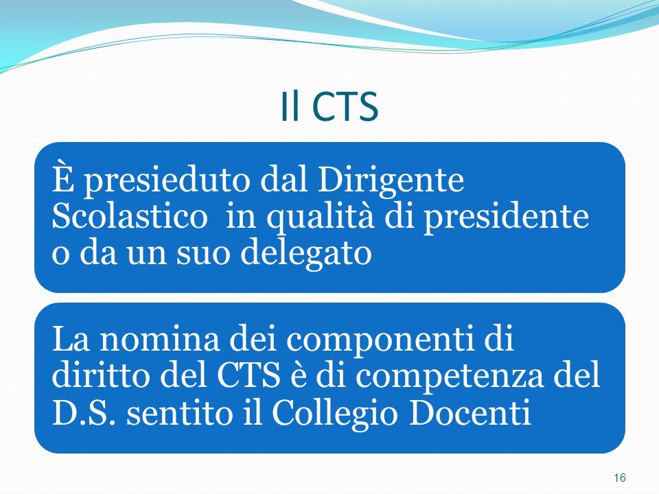 Il CTS È presieduto dal Dirigente Scolastico in qualità di presidente o da un suo delegato La nomina dei componenti di diritto del CTS è di competenza
