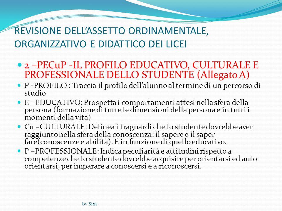 by Sim REVISIONE DELL'ASSETTO ORDINAMENTALE, ORGANIZZATIVO E DIDATTICO DEI LICEI  2 –PECuP -IL PROFILO EDUCATIVO, CULTURALE E PROFESSIONALE DELLO STUDENTE (Allegato A)  P -PROFILO : Traccia il profilo dell'alunno al termine di un percorso di studio  E –EDUCATIVO: Prospetta i comportamenti attesi nella sfera della persona (formazione di tutte le dimensioni della persona e in tutti i momenti della vita)  Cu –CULTURALE: Delinea i traguardi che lo studente dovrebbe aver raggiunto nella sfera della conoscenza: il sapere e il saper fare(conoscenze e abilità).
