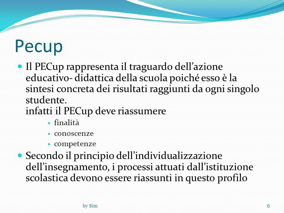 Pecup  Il PECup rappresenta il traguardo dell'azione educativo- didattica della scuola poiché esso è la sintesi concreta dei risultati raggiunti da o