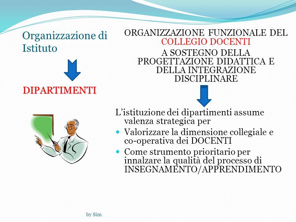 by Sim Organizzazione di IstitutoDIPARTIMENTI ORGANIZZAZIONE FUNZIONALE DEL COLLEGIO DOCENTI A SOSTEGNO DELLA PROGETTAZIONE DIDATTICA E DELLA INTEGRAZIONE DISCIPLINARE L'istituzione dei dipartimenti assume valenza strategica per  Valorizzare la dimensione collegiale e co-operativa dei DOCENTI  Come strumento prioritario per innalzare la qualità del processo di INSEGNAMENTO/APPRENDIMENTO
