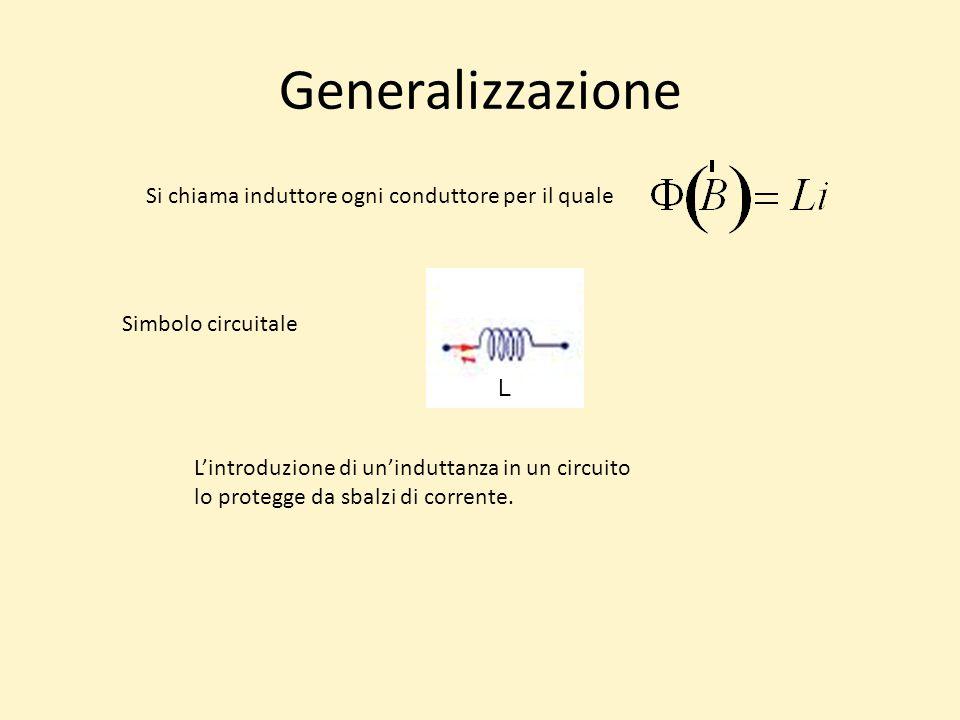 Generalizzazione Si chiama induttore ogni conduttore per il quale Simbolo circuitale L'introduzione di un'induttanza in un circuito lo protegge da sbalzi di corrente.