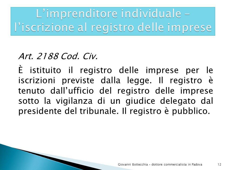 Art.2188 Cod. Civ. È istituito il registro delle imprese per le iscrizioni previste dalla legge.