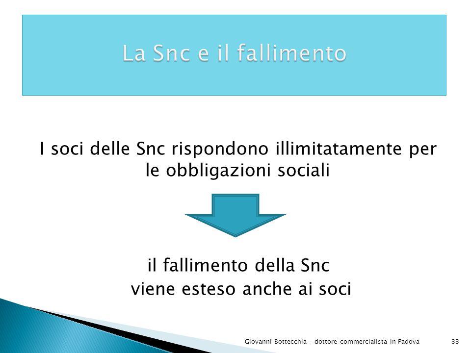 33Giovanni Bottecchia – dottore commercialista in Padova I soci delle Snc rispondono illimitatamente per le obbligazioni sociali il fallimento della Snc viene esteso anche ai soci