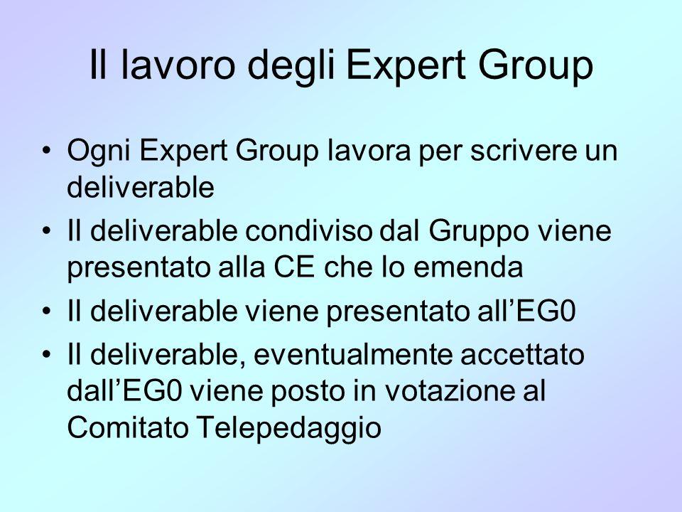 Il lavoro degli Expert Group •Ogni Expert Group lavora per scrivere un deliverable •Il deliverable condiviso dal Gruppo viene presentato alla CE che l