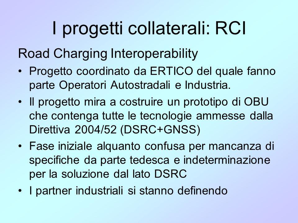I progetti collaterali: RCI Road Charging Interoperability •Progetto coordinato da ERTICO del quale fanno parte Operatori Autostradali e Industria. •I