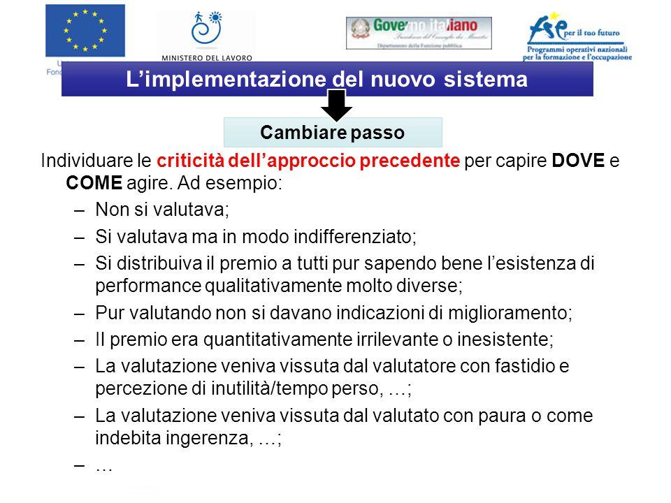 Direzione Generale per le Politiche Attive e Passive del Lavoro L'implementazione del nuovo sistema Individuare le criticità dell'approccio precedente