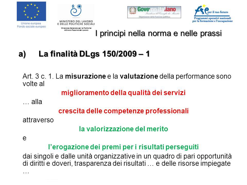 Direzione Generale per le Politiche Attive e Passive del Lavoro I principi nella norma e nelle prassi Art.