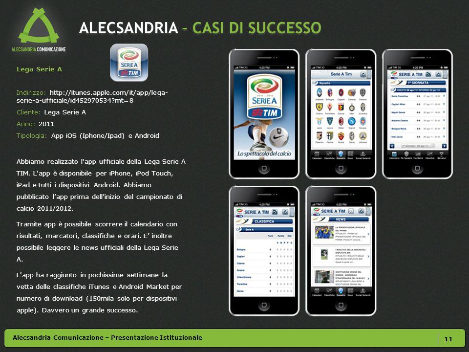 ALECSANDRIA – CASI DI SUCCESSO 11 Alecsandria Comunicazione – Presentazione Istituzionale Lega Serie A Indirizzo: http://itunes.apple.com/it/app/lega- serie-a-ufficiale/id452970534 mt=8 Cliente: Lega Serie A Anno: 2011 Tipologia: App iOS (Iphone/Ipad) e Android Abbiamo realizzato l app ufficiale della Lega Serie A TIM.
