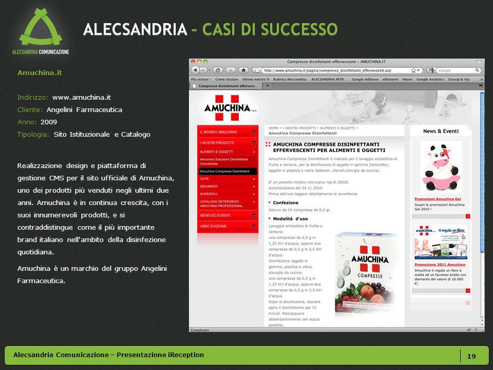 ALECSANDRIA – CASI DI SUCCESSO 19 Alecsandria Comunicazione – Presentazione iReception Amuchina.it Indirizzo: www.amuchina.it Cliente: Angelini Farmac