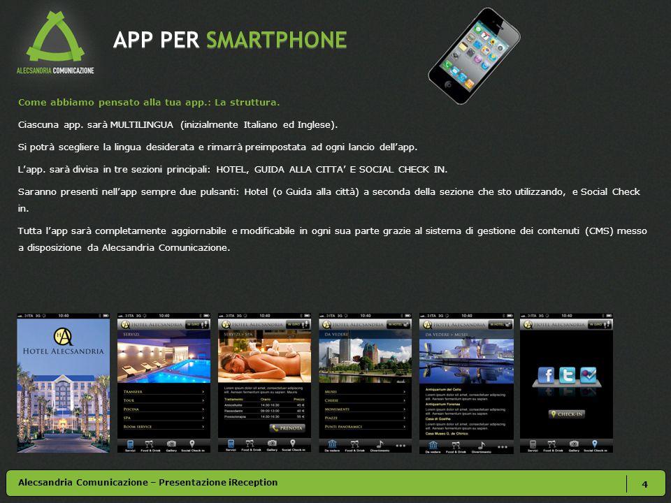 APP PER SMARTPHONE 4 Alecsandria Comunicazione – Presentazione iReception Come abbiamo pensato alla tua app.: La struttura. Ciascuna app. sarà MULTILI
