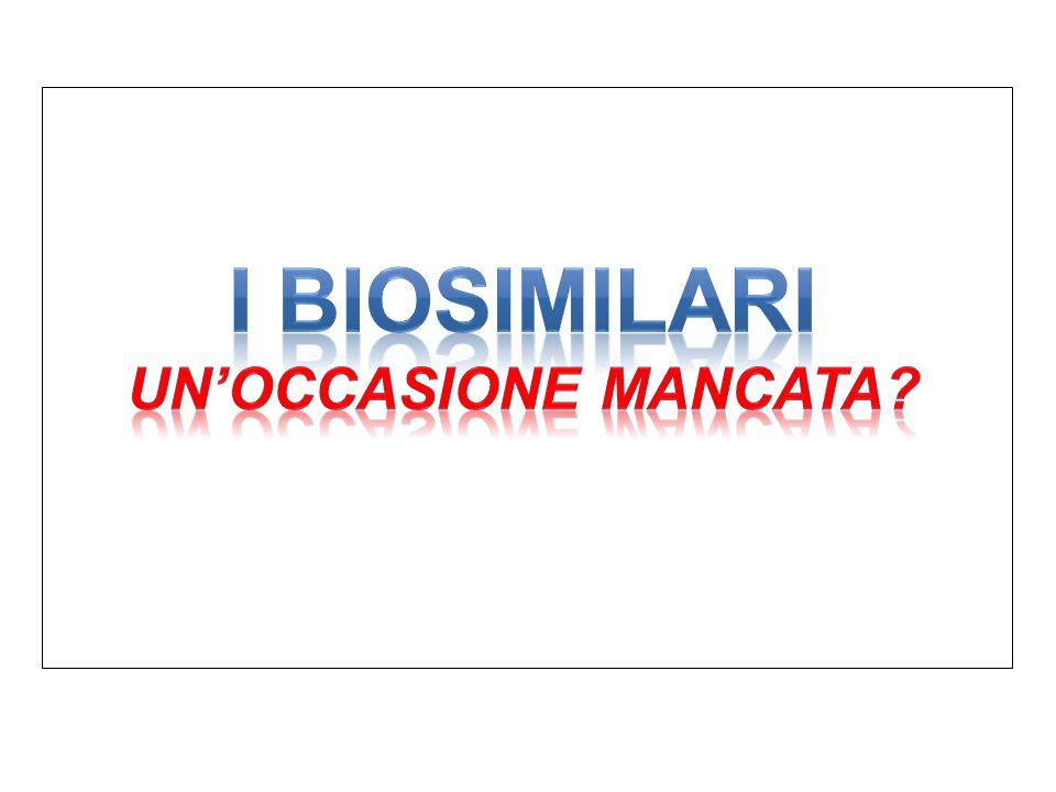 Penetrazione dei Biosimilari a livello Regionale Fonte: IMS 2012