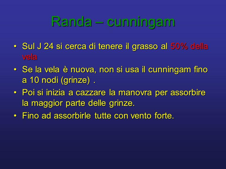 Randa – cunningam •Sul J 24 si cerca di tenere il grasso al 50% della vela •Se la vela è nuova, non si usa il cunningam fino a 10 nodi (grinze). •Poi