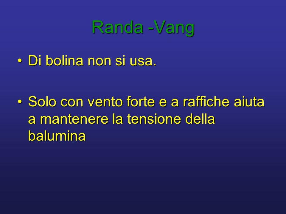 Randa -Vang •Di bolina non si usa. •Solo con vento forte e a raffiche aiuta a mantenere la tensione della balumina