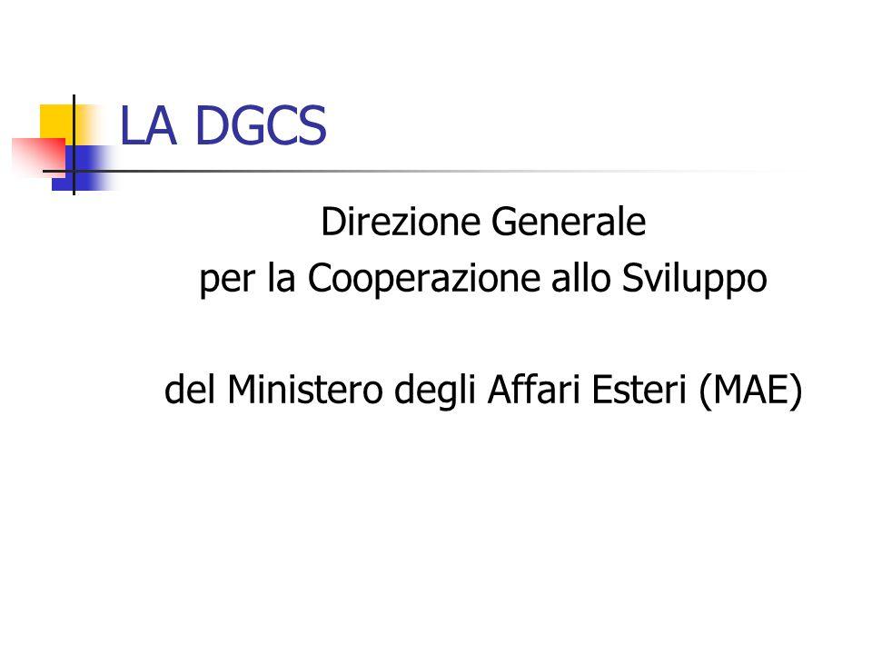 LA DGCS Direzione Generale per la Cooperazione allo Sviluppo del Ministero degli Affari Esteri (MAE)