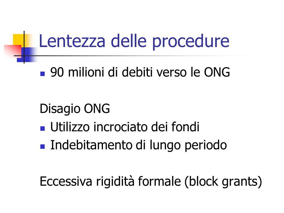 Lentezza delle procedure  90 milioni di debiti verso le ONG Disagio ONG  Utilizzo incrociato dei fondi  Indebitamento di lungo periodo Eccessiva rigidità formale (block grants)