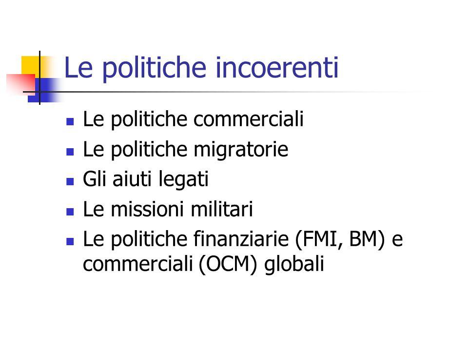 Le politiche incoerenti  Le politiche commerciali  Le politiche migratorie  Gli aiuti legati  Le missioni militari  Le politiche finanziarie (FMI, BM) e commerciali (OCM) globali