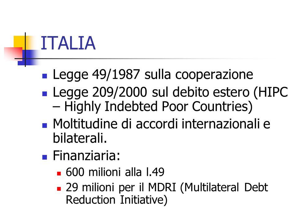 ITALIA  Legge 49/1987 sulla cooperazione  Legge 209/2000 sul debito estero (HIPC – Highly Indebted Poor Countries)  Moltitudine di accordi internazionali e bilaterali.