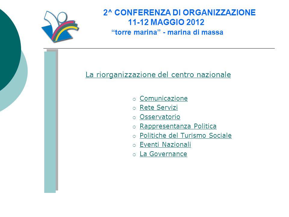 """2^ CONFERENZA DI ORGANIZZAZIONE 11-12 MAGGIO 2012 """"torre marina"""" - marina di massa La riorganizzazione del centro nazionale  Comunicazione Comunicazi"""