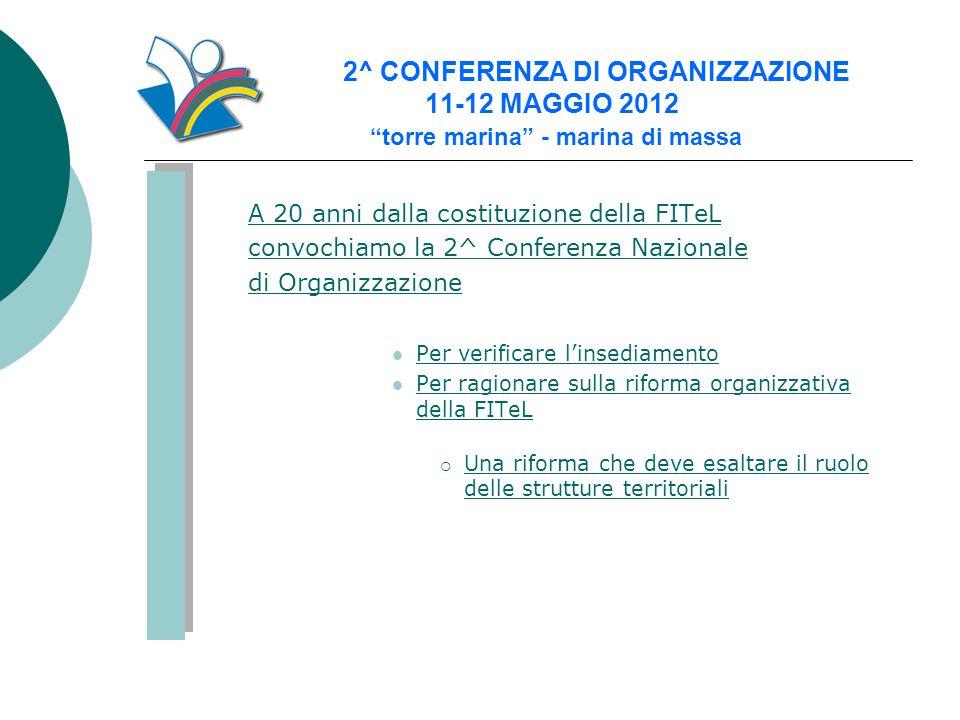 """2^ CONFERENZA DI ORGANIZZAZIONE 11-12 MAGGIO 2012 """"torre marina"""" - marina di massa A 20 anni dalla costituzione della FITeL convochiamo la 2^ Conferen"""