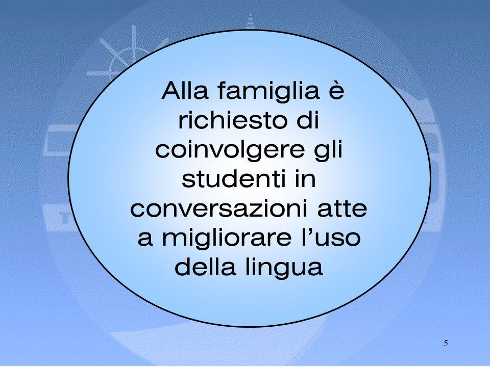 5 Alla famiglia è richiesto di coinvolgere gli studenti in conversazioni atte a migliorare l'uso della lingua