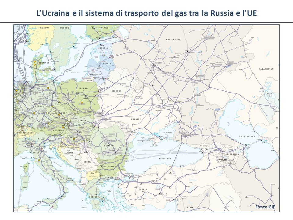 Vie di esportazione russe e approvvigionamento ucraino Ucraina2012 Consumi53 Bcm Produzione20 Bcm Importazioni33 Bcm Quota del gas sul paniere energetico36% GasdottoMax capacità Nord Stream55 Gmc/y Yamal – Europe35 Gmc/y Rete ucraina100 Gmc/y Blue Stream16 Gmc/y Fonte: BP, Statistical Review of World Energy 2013 (approx.) In 2013, Russian exports to Central and Wester Europe amounted to 153 Gmc/c.