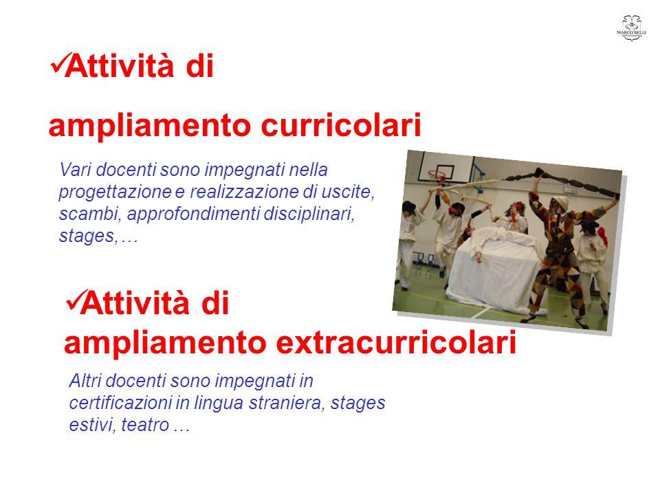 Altri docenti sono impegnati in certificazioni in lingua straniera, stages estivi, teatro …  Attività di ampliamento extracurricolari  Attività di a